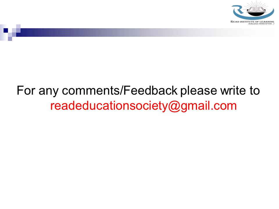 For any comments/Feedback please write to readeducationsociety@gmail.com