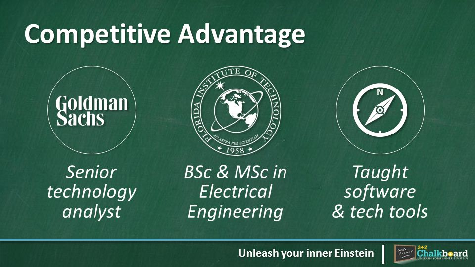 Competitive Advantage Senior technology analyst BSc & MSc in Electrical Engineering Taught software & tech tools Unleash your inner Einstein