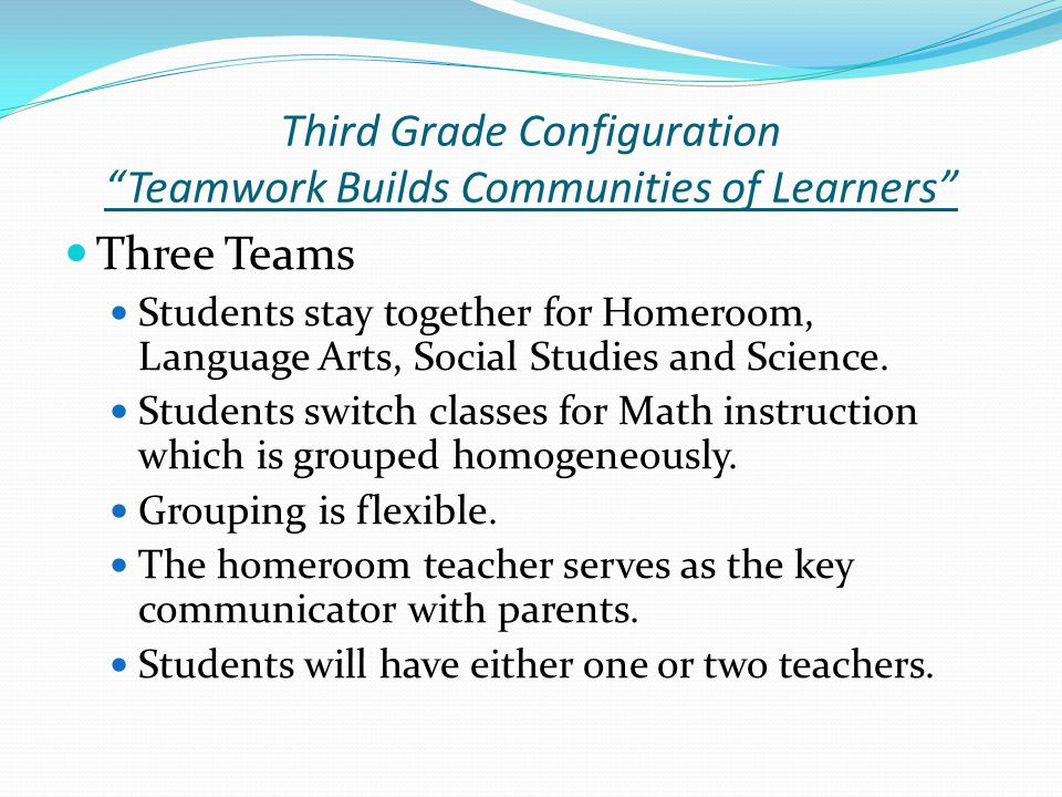 Third Grade Configuration Teamwork Builds Communities of Learners Three Teams Students stay together for Homeroom, Language Arts, Social Studies and Science.