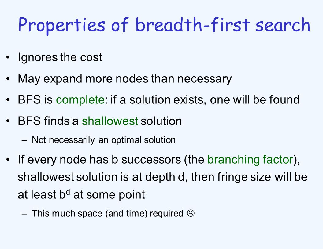 Properties of breadth-first search Ignores the cost May expand more nodes than necessary BFS is complete: if a solution exists, one will be found BFS finds a shallowest solution –Not necessarily an optimal solution If every node has b successors (the branching factor), shallowest solution is at depth d, then fringe size will be at least b d at some point –This much space (and time) required 