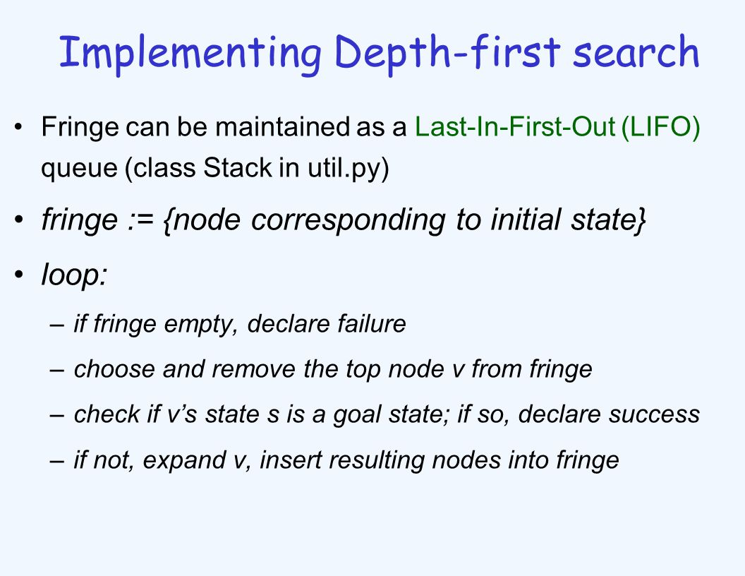 Implementing Depth-first search Fringe can be maintained as a Last-In-First-Out (LIFO) queue (class Stack in util.py) fringe := {node corresponding to initial state} loop: –if fringe empty, declare failure –choose and remove the top node v from fringe –check if v's state s is a goal state; if so, declare success –if not, expand v, insert resulting nodes into fringe