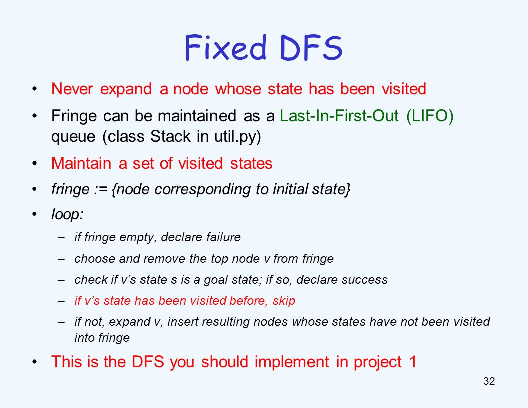 Never expand a node whose state has been visited Fringe can be maintained as a Last-In-First-Out (LIFO) queue (class Stack in util.py) Maintain a set of visited states fringe := {node corresponding to initial state} loop: –if fringe empty, declare failure –choose and remove the top node v from fringe –check if v's state s is a goal state; if so, declare success –if v's state has been visited before, skip –if not, expand v, insert resulting nodes whose states have not been visited into fringe This is the DFS you should implement in project 1 32 Fixed DFS
