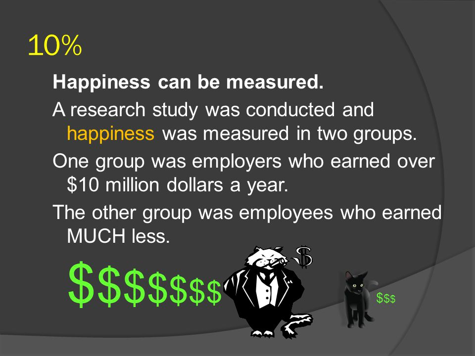 10% Happiness can be measured.