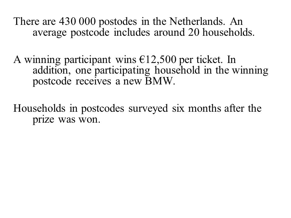There are 430 000 postodes in the Netherlands. An average postcode includes around 20 households.