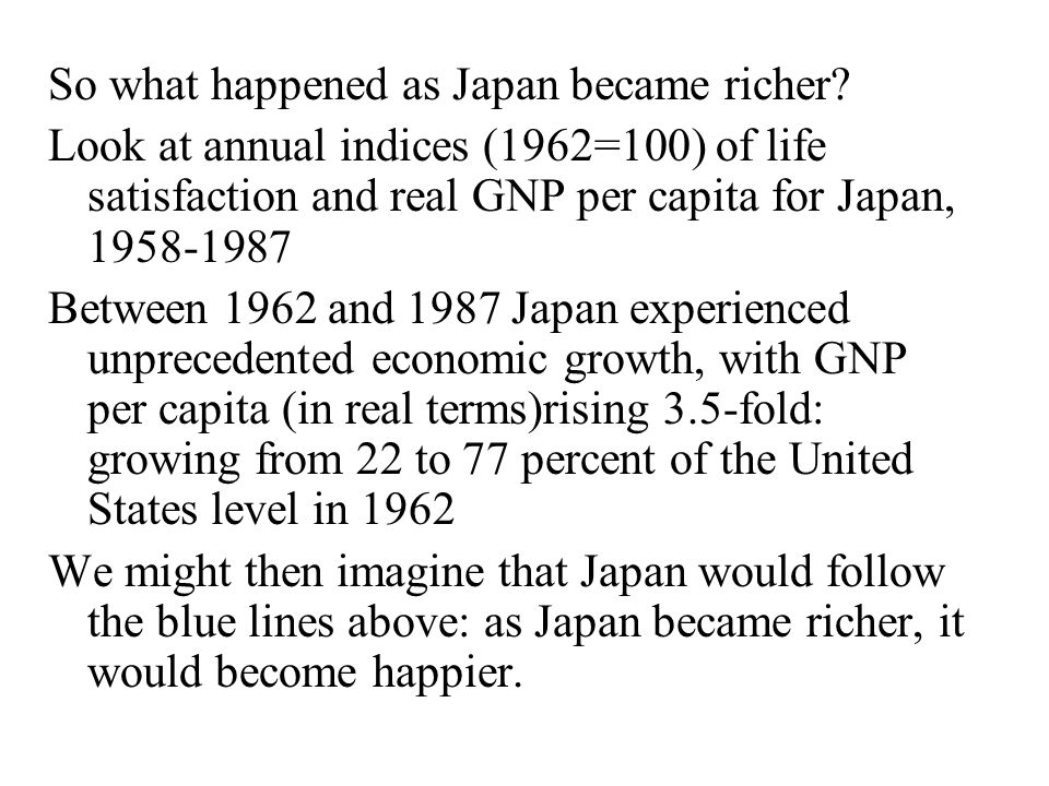 So what happened as Japan became richer.
