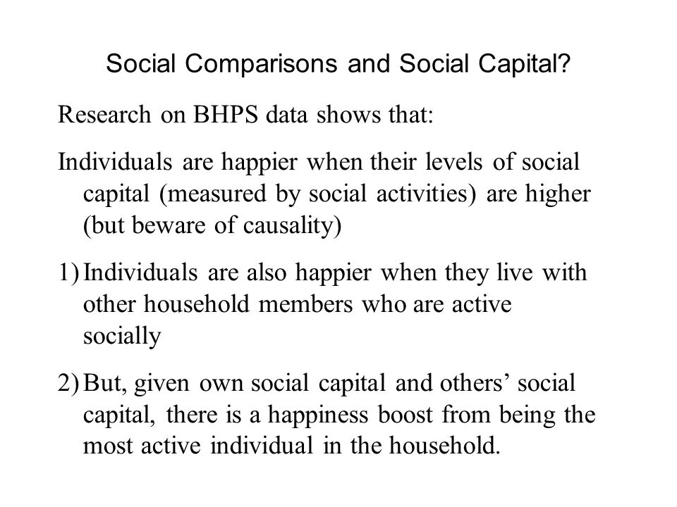 Social Comparisons and Social Capital.