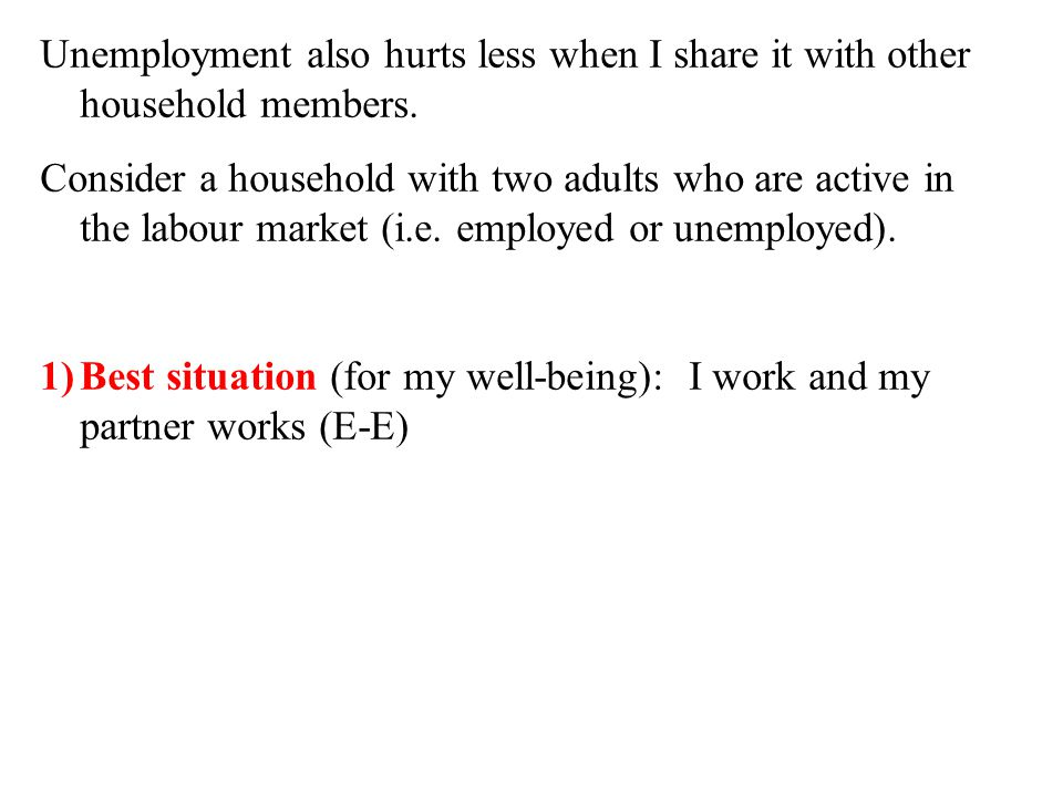 Unemployment also hurts less when I share it with other household members.