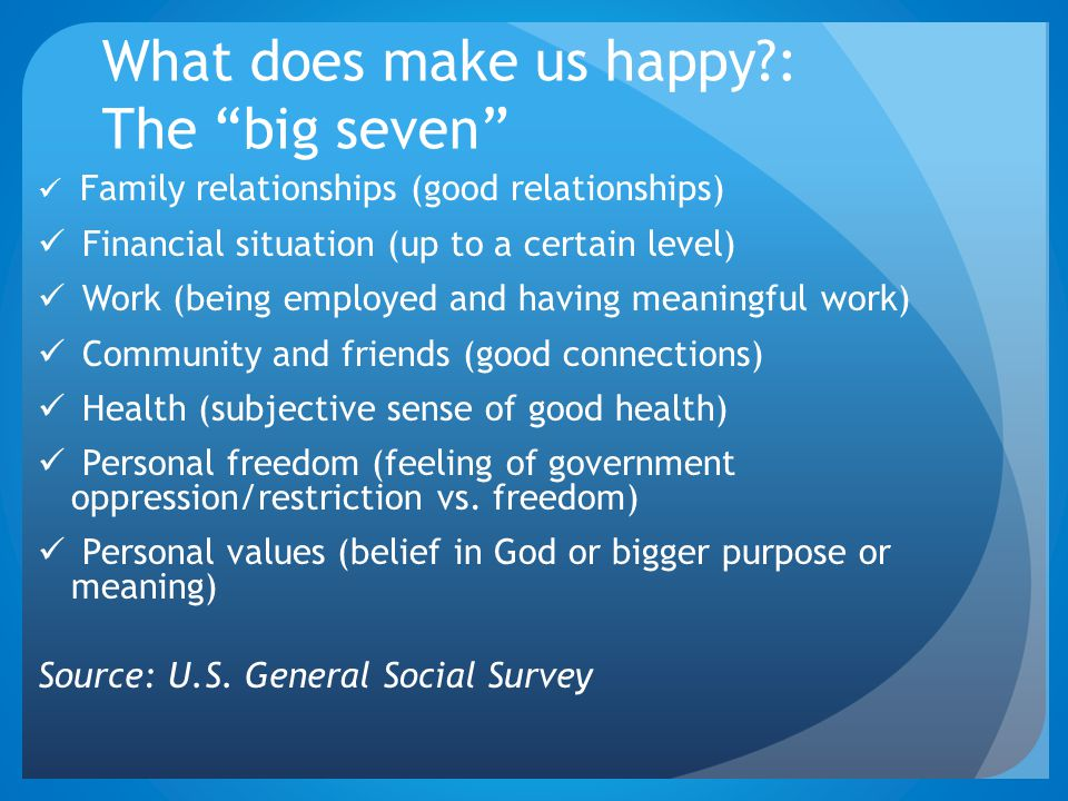 "What does make us happy?: The ""big seven"" Family relationships (good relationships) Financial situation (up to a certain level) Work (being employed a"