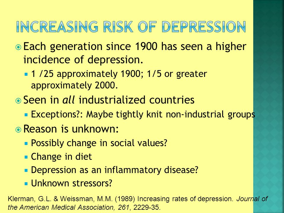  Each generation since 1900 has seen a higher incidence of depression.