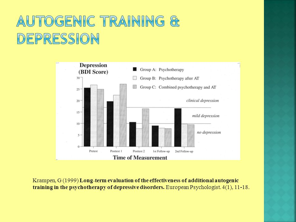 Krampen, G (1999) Long-term evaluation of the effectiveness of additional autogenic training in the psychotherapy of depressive disorders.