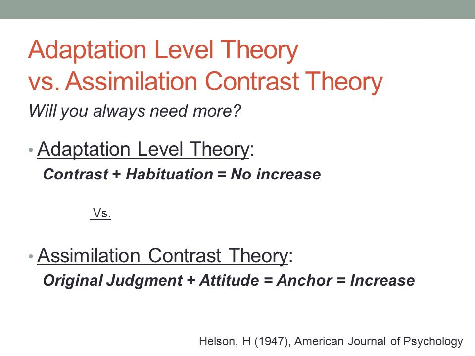 Adaptation Level Theory vs. Assimilation Contrast Theory Will you always need more.