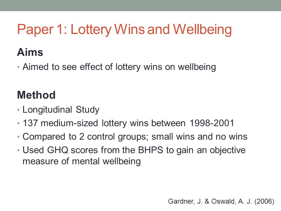 Paper 1: Lottery Wins and Wellbeing Aims Aimed to see effect of lottery wins on wellbeing Method Longitudinal Study 137 medium-sized lottery wins between 1998-2001 Compared to 2 control groups; small wins and no wins Used GHQ scores from the BHPS to gain an objective measure of mental wellbeing Gardner, J.