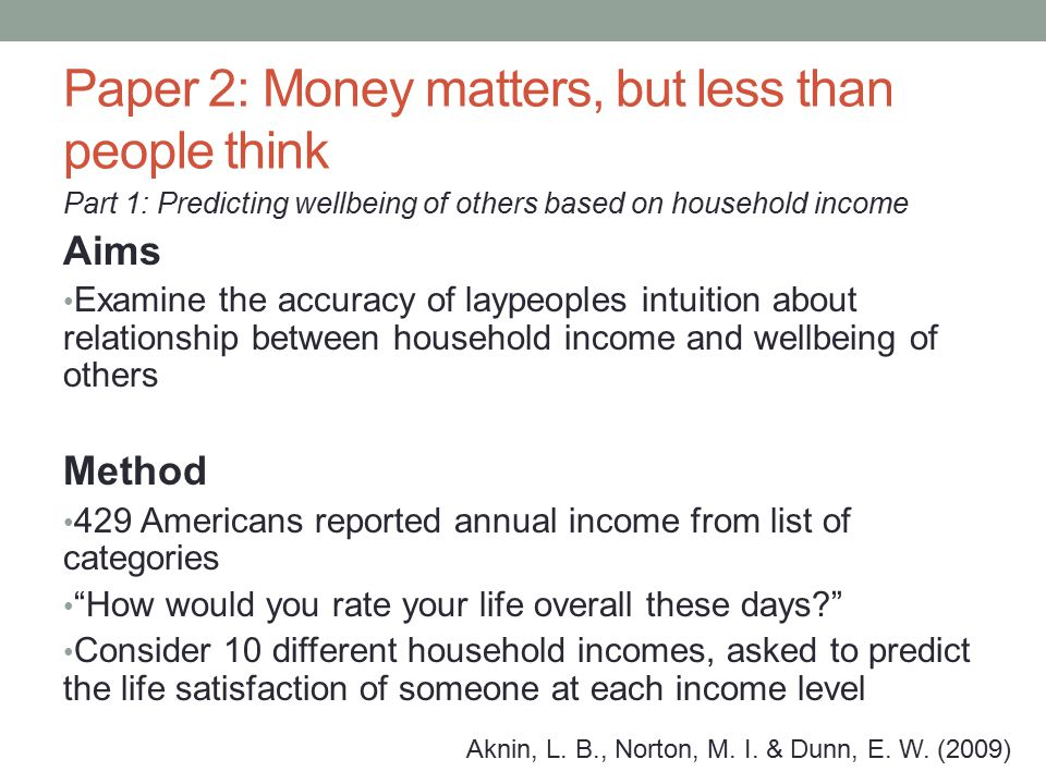 Results People on higher incomes reported greater happiness Accurately estimated higher levels of household income with greater happiness Overestimated the unhappiness of those in lower income households