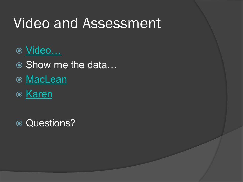Video and Assessment  Video… Video…  Show me the data…  MacLean MacLean  Karen Karen  Questions?
