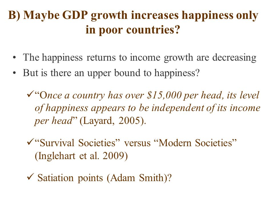 B) Maybe GDP growth increases happiness only in poor countries.