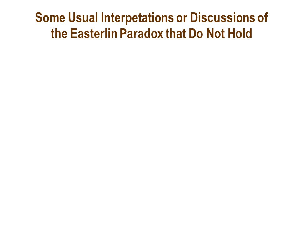 Some Usual Interpetations or Discussions of the Easterlin Paradox that Do Not Hold
