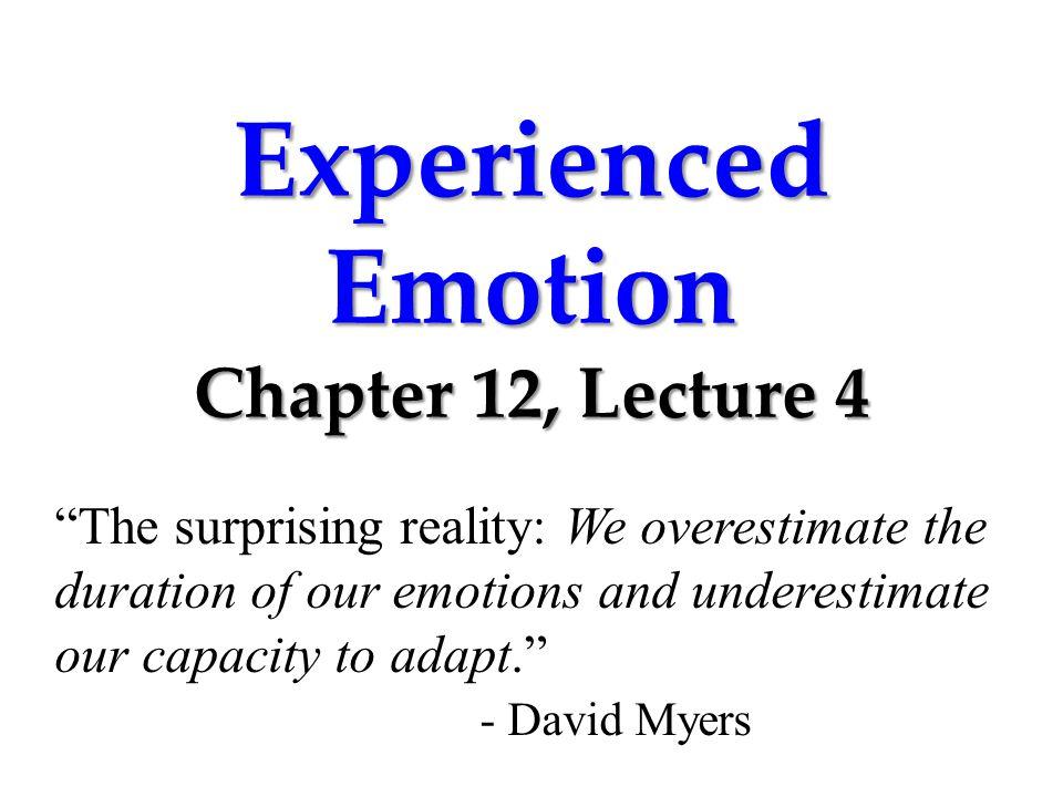 Experienced Emotion Izard (1977) isolated 10 emotions.