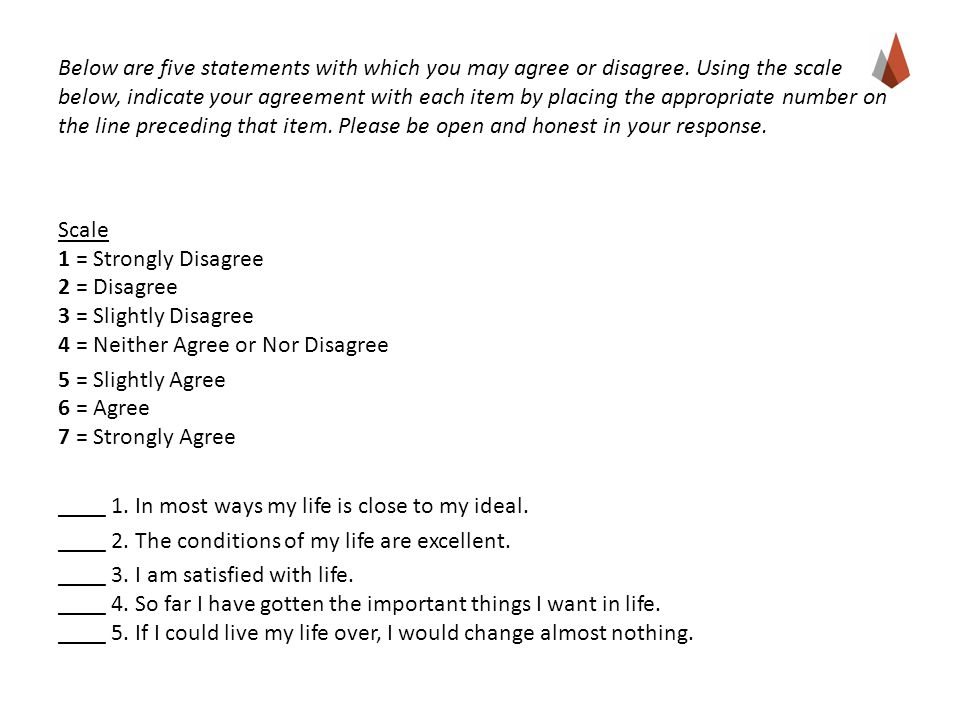 Below are five statements with which you may agree or disagree. Using the scale below, indicate your agreement with each item by placing the appropria
