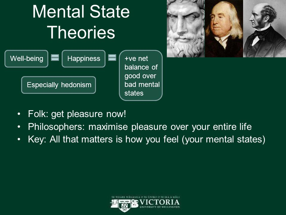 Mental State Theories Folk: get pleasure now! Philosophers: maximise pleasure over your entire life Key: All that matters is how you feel (your mental