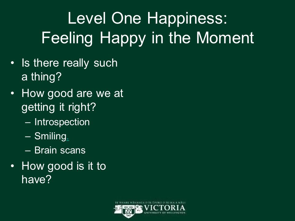 Level One Happiness: Feeling Happy in the Moment Is there really such a thing? How good are we at getting it right? –Introspection –Smiling.. –Brain s