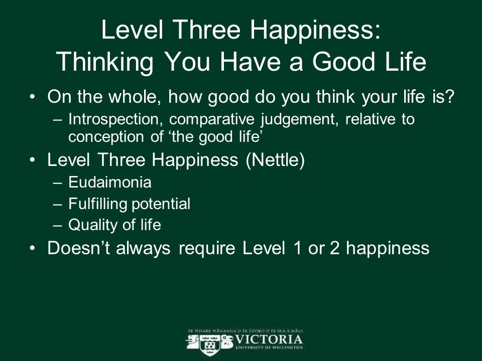 Level Three Happiness: Thinking You Have a Good Life On the whole, how good do you think your life is? –Introspection, comparative judgement, relative