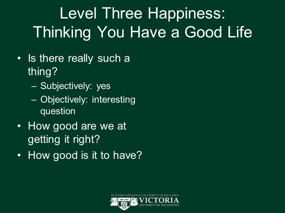 Level Three Happiness: Thinking You Have a Good Life Is there really such a thing? –Subjectively: yes –Objectively: interesting question How good are