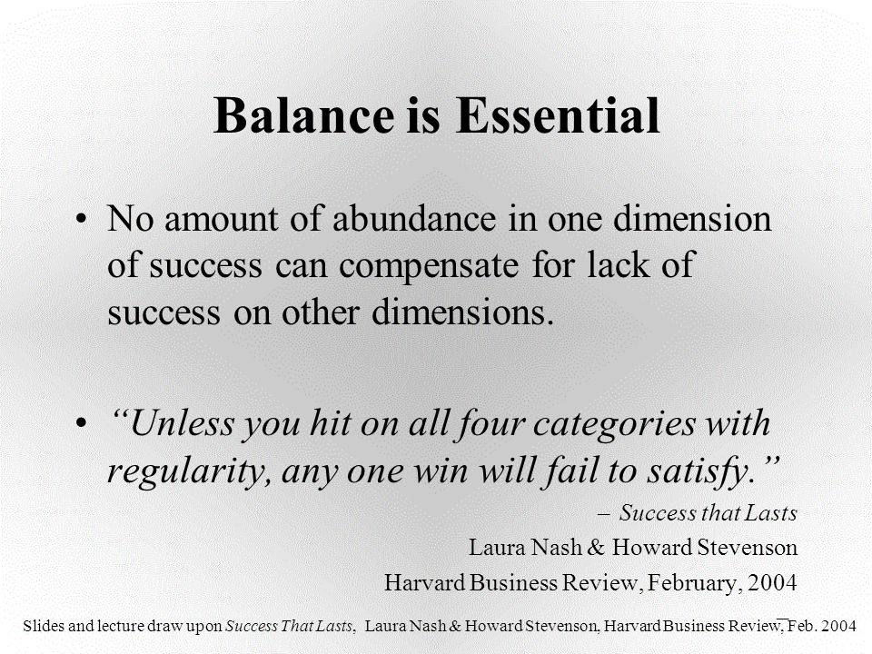 """Balance is Essential No amount of abundance in one dimension of success can compensate for lack of success on other dimensions. """"Unless you hit on all"""