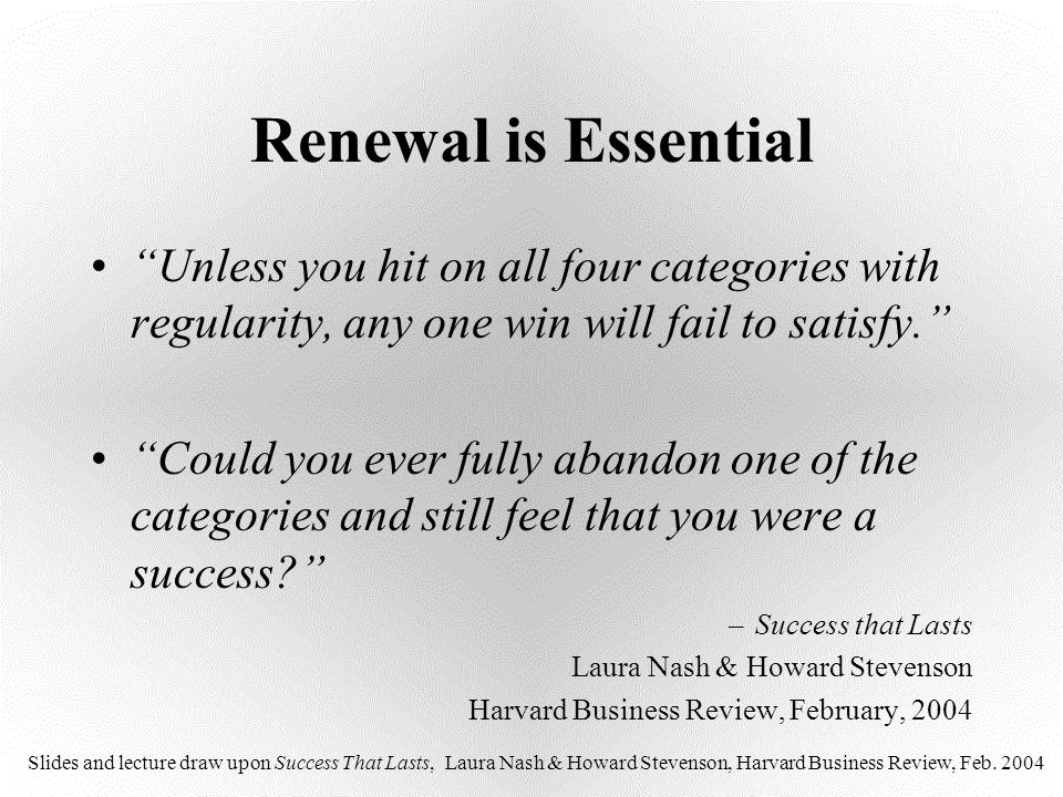 """Renewal is Essential """"Unless you hit on all four categories with regularity, any one win will fail to satisfy."""" """"Could you ever fully abandon one of t"""