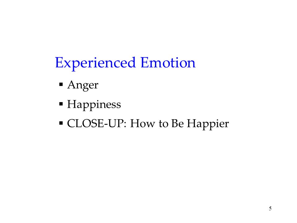 5 Experienced Emotion  Anger  Happiness  CLOSE-UP: How to Be Happier