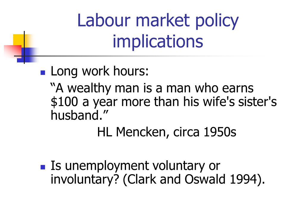 Labour market policy implications Long work hours: A wealthy man is a man who earns $100 a year more than his wife s sister s husband. HL Mencken, circa 1950s Is unemployment voluntary or involuntary.