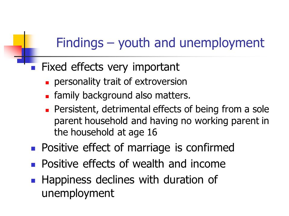 Findings – youth and unemployment Fixed effects very important personality trait of extroversion family background also matters.
