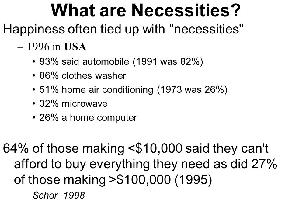 What are Necessities? Happiness often tied up with