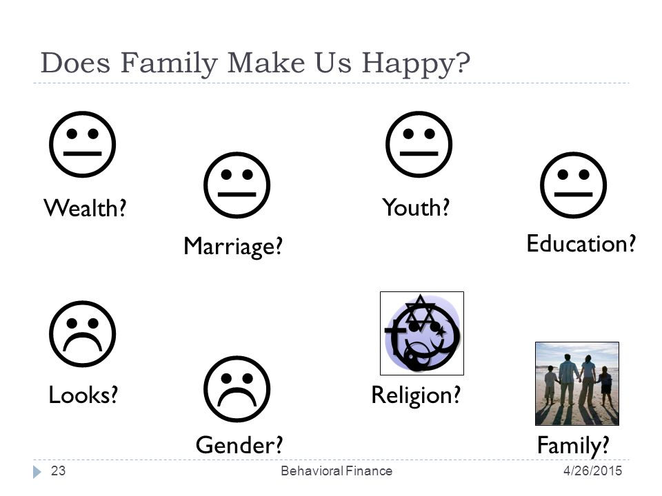 Does Family Make Us Happy. 23 Wealth.  Marriage.