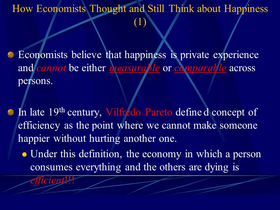 Economic Determinants of Happiness: Money and Happiness Above the poverty level, the marginal utility to happiness is about zero.