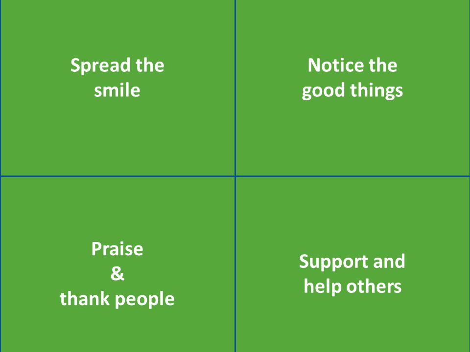Praise & thank people Notice the good things Spread the smile Support and help others