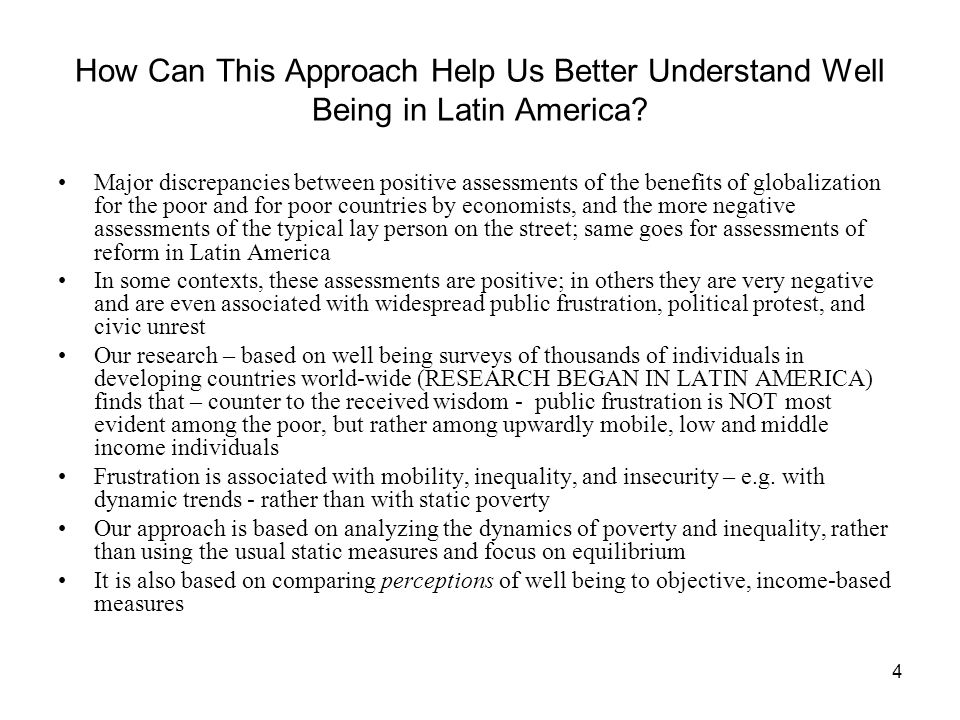 4 How Can This Approach Help Us Better Understand Well Being in Latin America.