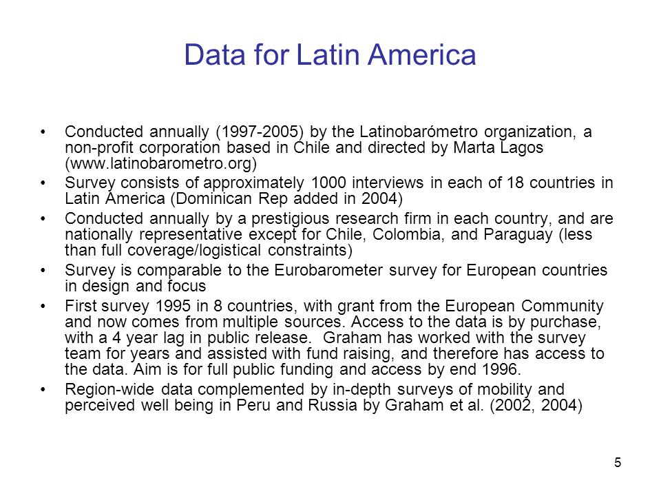 5 Conducted annually (1997-2005) by the Latinobarómetro organization, a non-profit corporation based in Chile and directed by Marta Lagos (www.latinobarometro.org) Survey consists of approximately 1000 interviews in each of 18 countries in Latin America (Dominican Rep added in 2004) Conducted annually by a prestigious research firm in each country, and are nationally representative except for Chile, Colombia, and Paraguay (less than full coverage/logistical constraints) Survey is comparable to the Eurobarometer survey for European countries in design and focus First survey 1995 in 8 countries, with grant from the European Community and now comes from multiple sources.