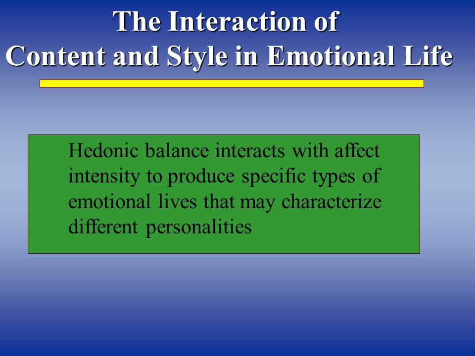 The Interaction of Content and Style in Emotional Life Hedonic balance interacts with affect intensity to produce specific types of emotional lives that may characterize different personalities