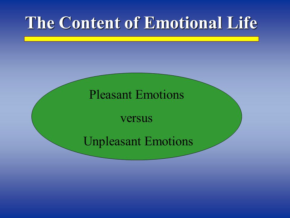 The Content of Emotional Life Pleasant Emotions versus Unpleasant Emotions
