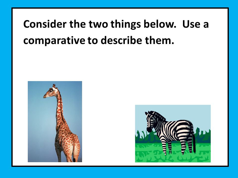 Consider the two things below. Use a comparative to describe them.