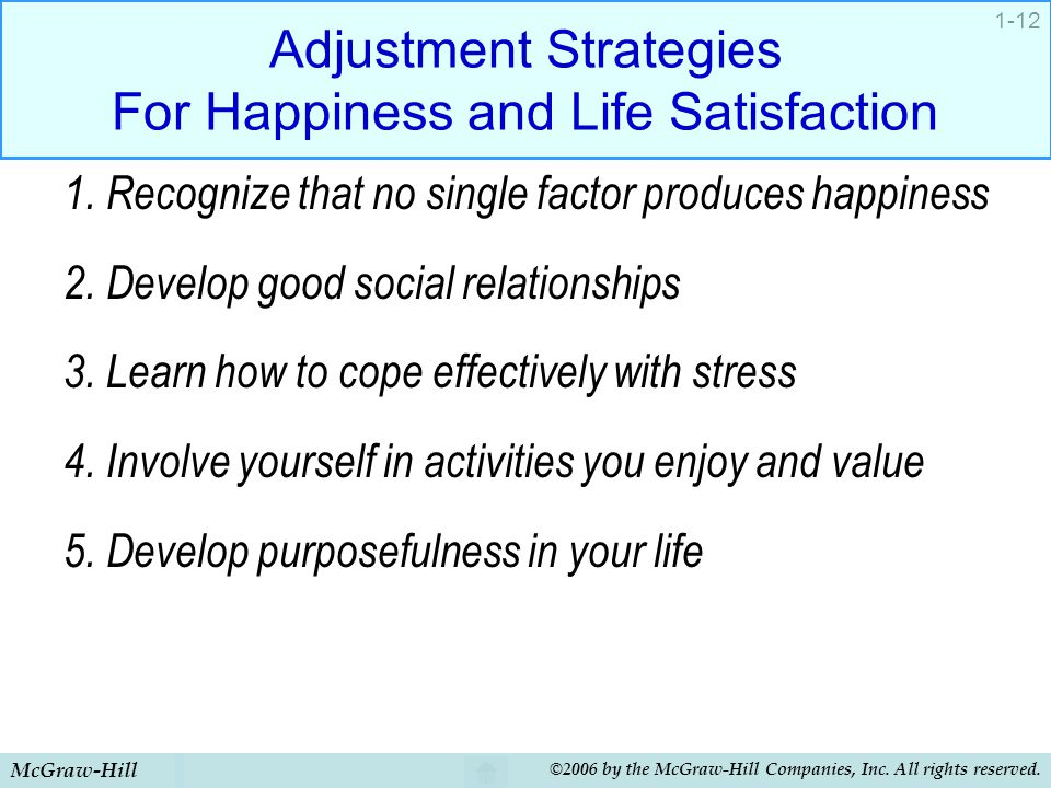 McGraw-Hill ©2006 by the McGraw-Hill Companies, Inc. All rights reserved. 1-12 Adjustment Strategies For Happiness and Life Satisfaction 1. Recognize