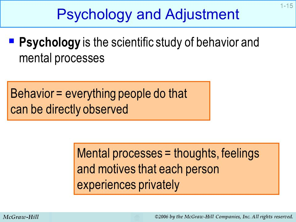 McGraw-Hill ©2006 by the McGraw-Hill Companies, Inc. All rights reserved. 1-15 Psychology and Adjustment  Psychology is the scientific study of behav