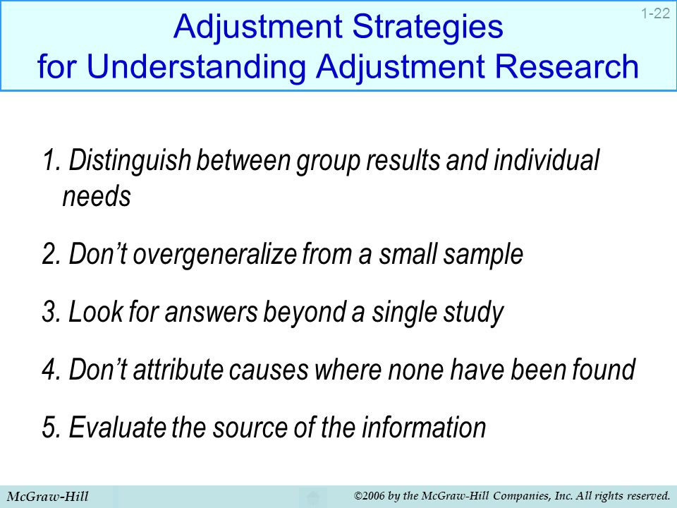 McGraw-Hill ©2006 by the McGraw-Hill Companies, Inc. All rights reserved. 1-22 Adjustment Strategies for Understanding Adjustment Research 1. Distingu