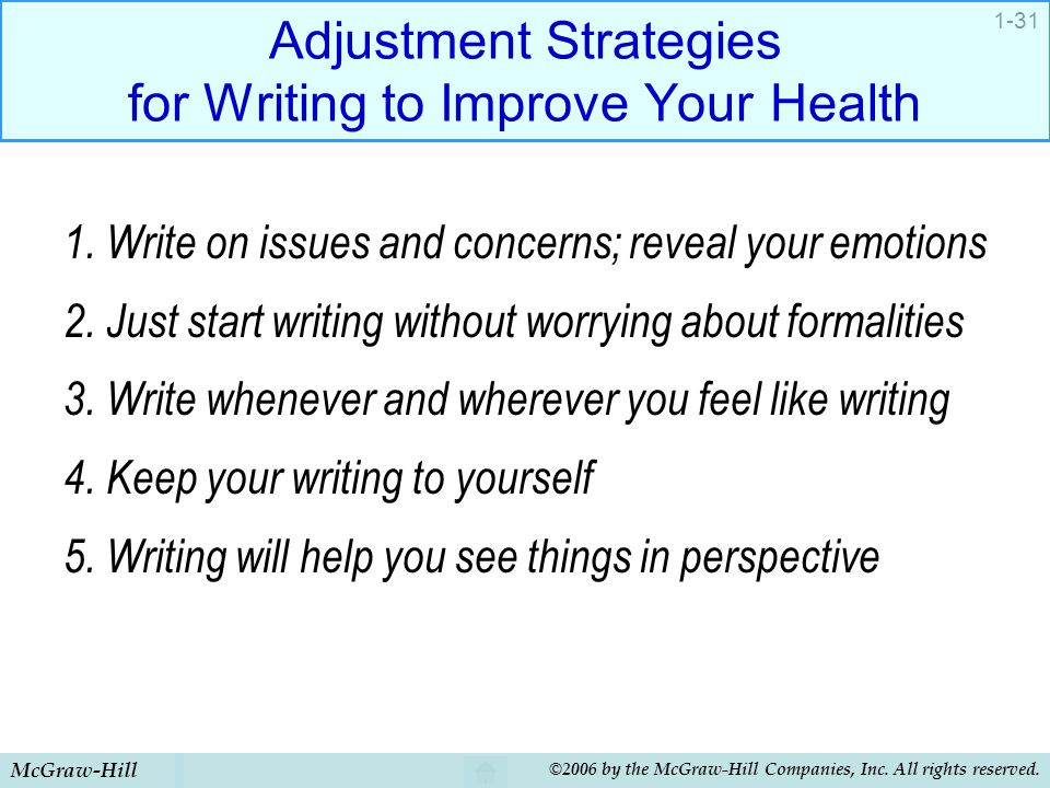 McGraw-Hill ©2006 by the McGraw-Hill Companies, Inc. All rights reserved. 1-31 Adjustment Strategies for Writing to Improve Your Health 1. Write on is