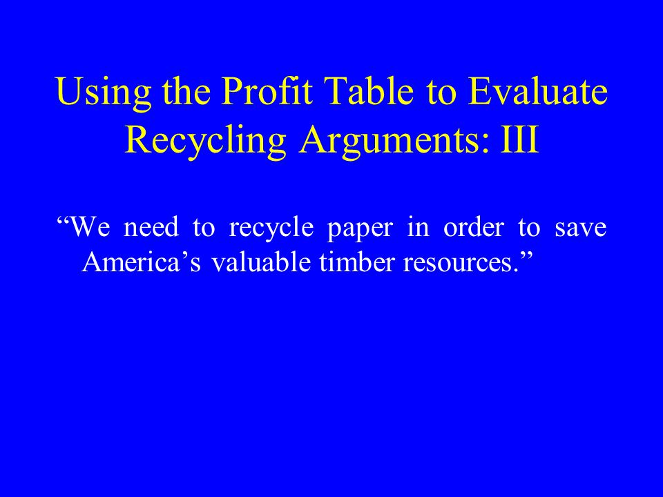 Case Study II: Recycling to Save Scarce Landfill Space Revenues = Revenues from Recycled Products + Cost Savings from Less Dumping Costs = Costs of Resources Used to Recycle Profits =Positive/Negative