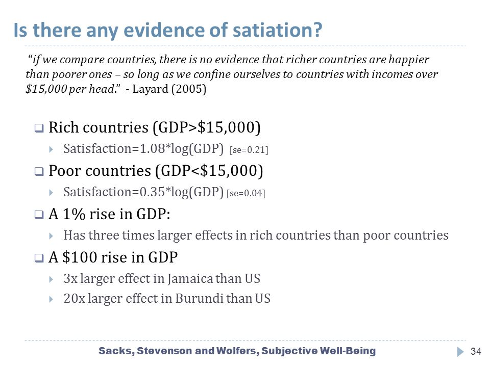 Is there any evidence of satiation? Sacks, Stevenson and Wolfers, Subjective Well-Being34  Rich countries (GDP>$15,000)  Satisfaction=1.08*log(GDP)