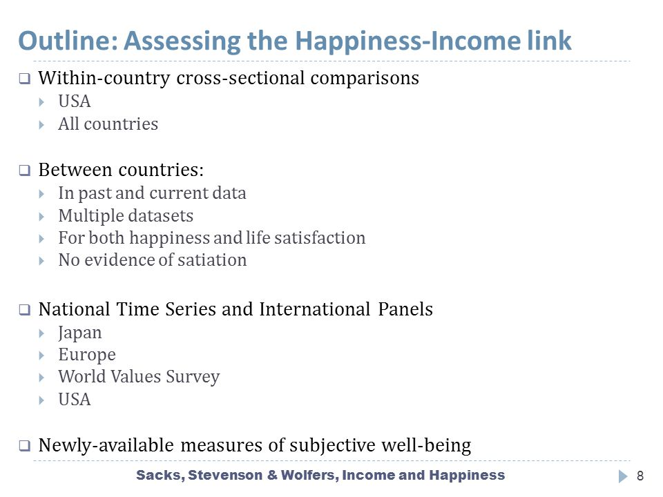 Outline: Assessing the Happiness-Income link Sacks, Stevenson & Wolfers, Income and Happiness8  Within-country cross-sectional comparisons  USA  Al