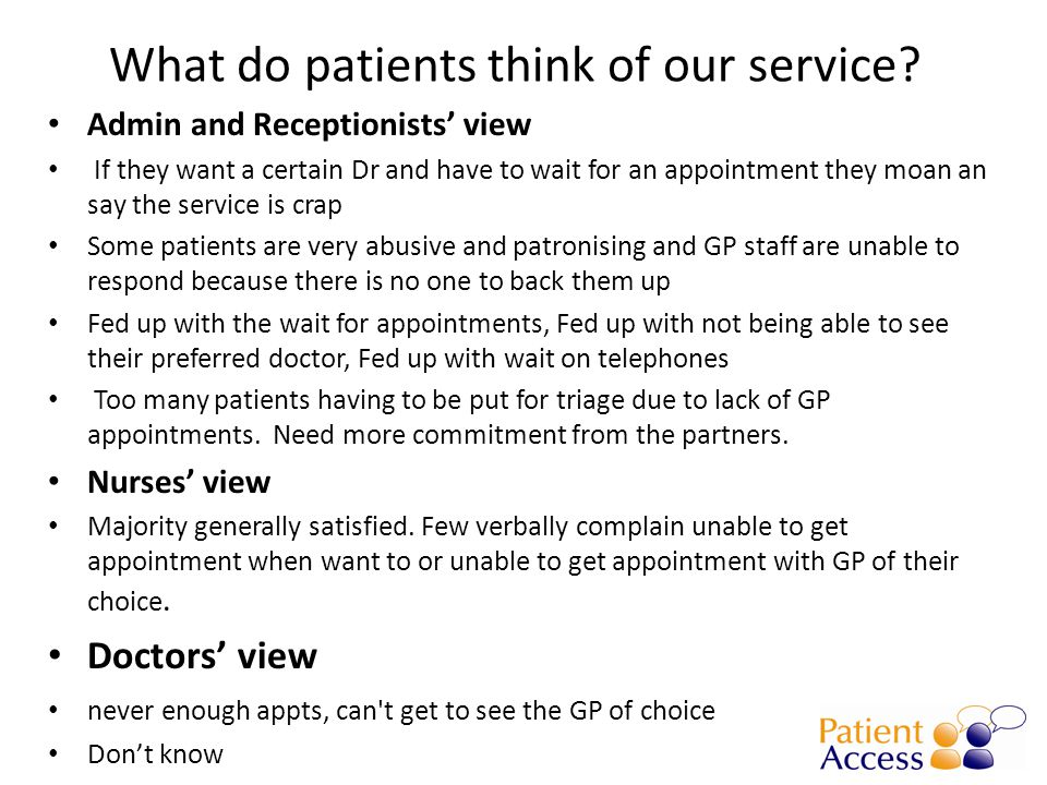 GP consultations – highest on Tuesdays, low Weds.