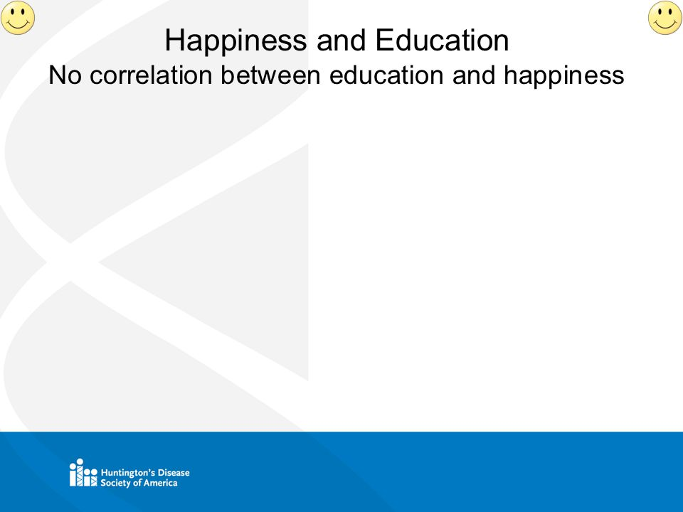 Happiness and Education No correlation between education and happiness