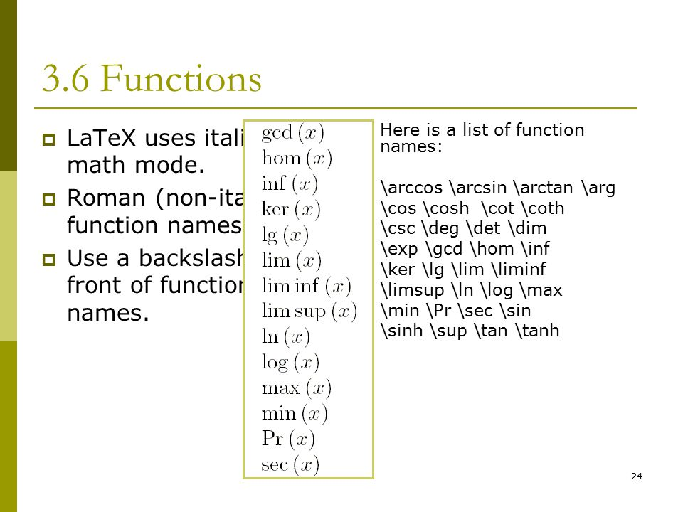 24 3.6 Functions  LaTeX uses italics in math mode.